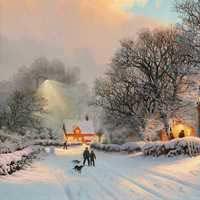 نقاشی طبیعت زمستان برفی